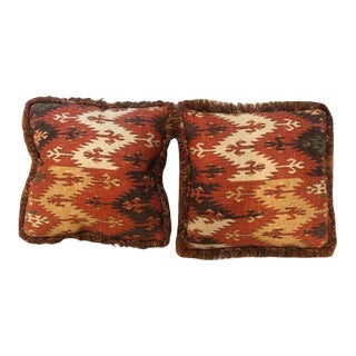 Custom Aztec Pillows with Fringe - a Pair For Sale