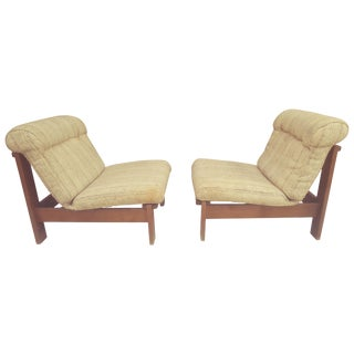 Pair of Lowrider Danish Armless Lounge Chairs For Sale