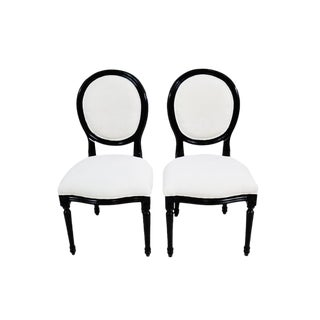 Pair of Vintage French Louis XV Style Black Lacquer Dining /Side Chairs Newly Upholstered For Sale
