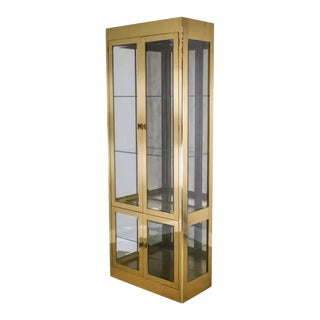 Vintage Mastercraft Brass and Glass Cabinet Etergere Vitrine For Sale