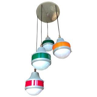 Italian 5-Light Plexiglass Chandelier Design Stilux, 1960s For Sale