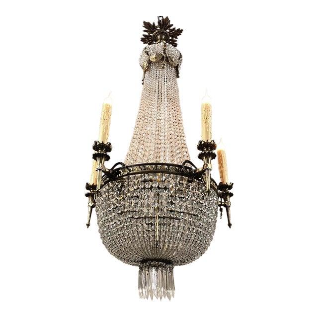Antique Sack of Pearls Crystal Chandelier For Sale