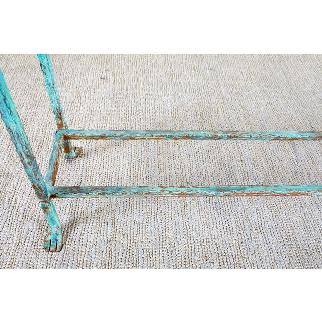 Patinated Iron and Stone Garden Console Table For Sale - Image 12 of 13
