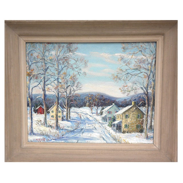 """""""Easton Highway in Pennsylvania"""" Rural Village Poconos Painting by Ann Yost For Sale"""