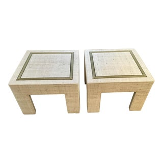 Moss Studios Upholstered Square Tables - a Pair For Sale
