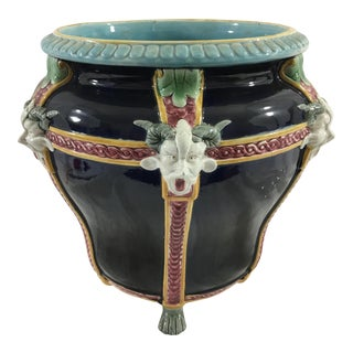French Majolica Cachepot With Satyrs