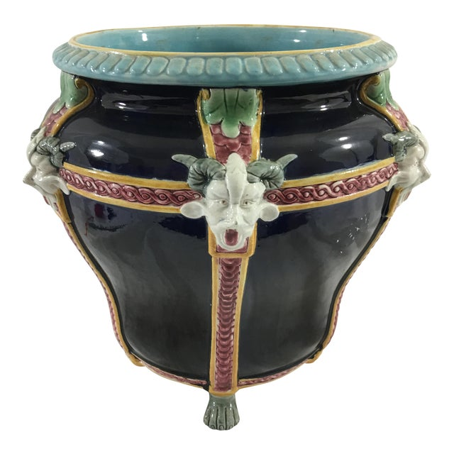 French Majolica Cachepot With Satyrs For Sale