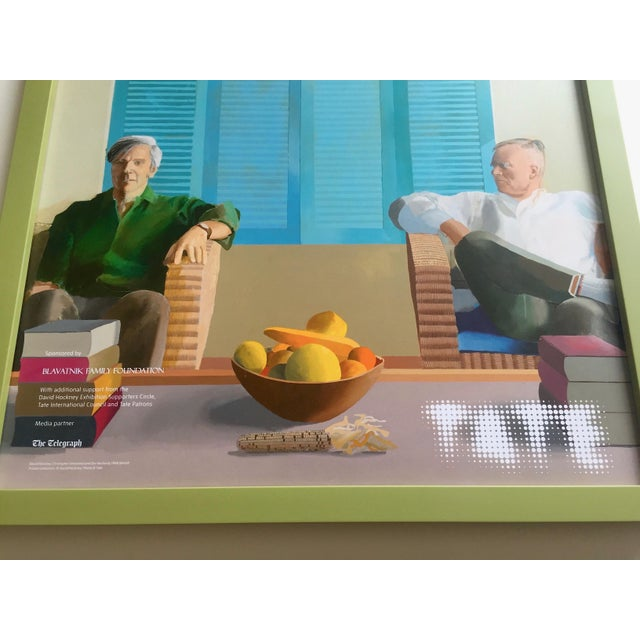 "Green David Hockney Rare Lithograph Print Tate Britain Framed Pop Art Exhibition Poster "" Christopher Isherwood and Don Bachardy "" 1968 For Sale - Image 8 of 13"