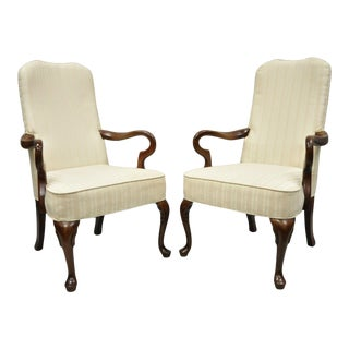 Late 20th Century Vintage Fairfield Cherry Wood Office Lounge Arm Chairs- A Pair For Sale