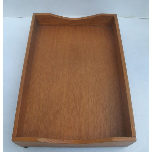 Mid-Century Modern Office Desk Wood Letter and Mail Tray Basket For Sale - Image 3 of 7