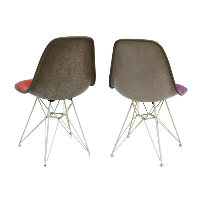 Pink Pink & Orange Eames Chairs on Eiffel Bases - Pair For Sale - Image 8 of 10