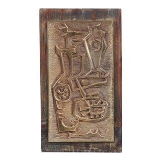 Mid-Century Brass & Wood Korean Wall Sculpture For Sale