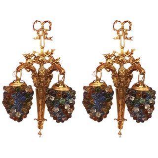 Italian Gilt Brass & Glass Beaded Sconces - A Pair