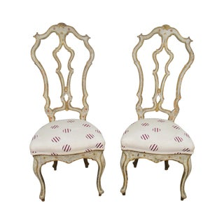 Italian Hand Painted Antique Venetian Pair of High Back Side Chairs For Sale