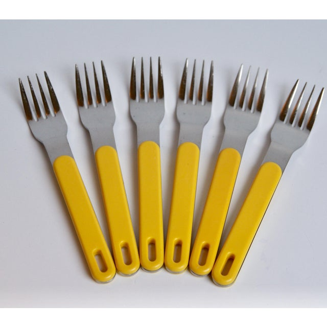 Metal Mod Yellow Flatware - Set of 23 For Sale - Image 7 of 8