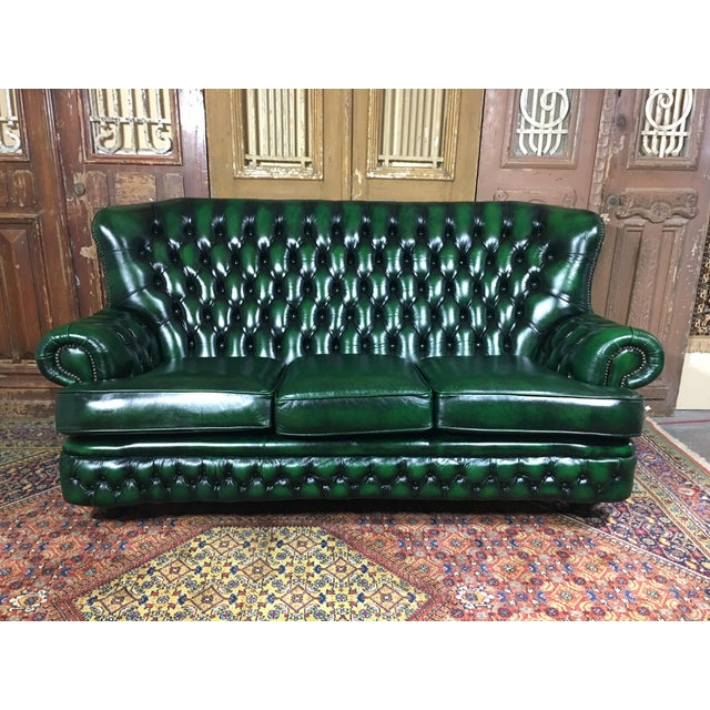 Vintage Mid Century English Green Leather Monks Back Chesterfield 3