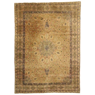 20th Century Victorian Persian Tabriz Area Rug With Round Star Medallion - 11′3″ × 15′8″ For Sale