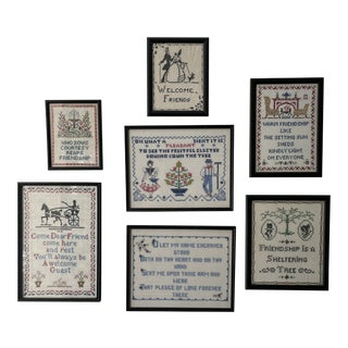Framed Set of Embroidered Needlepoint Quotes - 7 Pieces