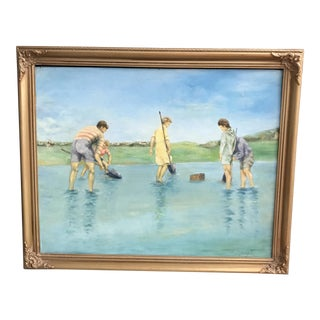 Mid-Century Oil Beach Scene Painting
