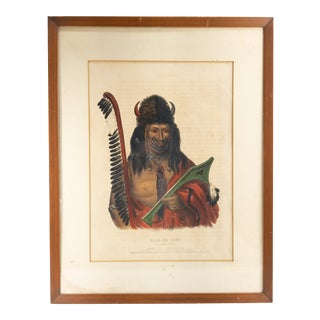 Late 19th Century Hand Colored Lithograph of Native American, Framed For Sale