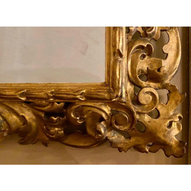 French Gilt Gesso Decorated Carved Wall / Console Mirror, Italian For Sale - Image 3 of 9