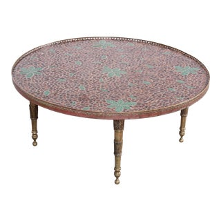 Mid-Century Modern Italian Mosaic Tile and Brass Cocktail Table, 1950s For Sale