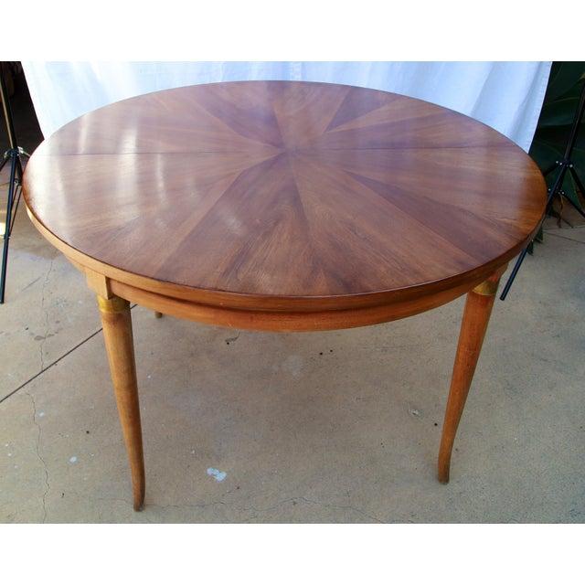 34371a26df05 Beautiful midcentury Biedermeier inspired dining game table with sunburst  veneer walnut   brass trim. Biedermeier 1950s Biedermeier Starburst Round  ...