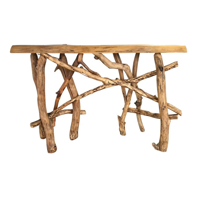 Lodge Live Edge Branch Base Console For Sale