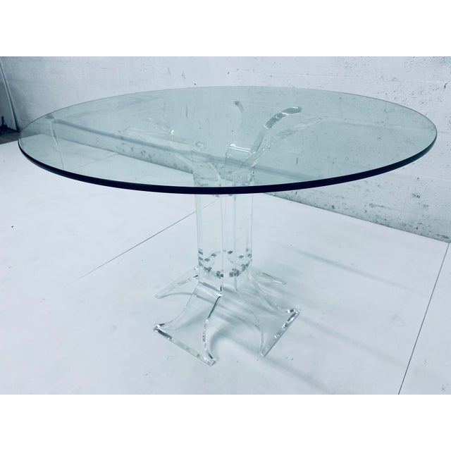 Verano Verano Lucite Dining Table With Glass Top For Sale - Image 4 of 13
