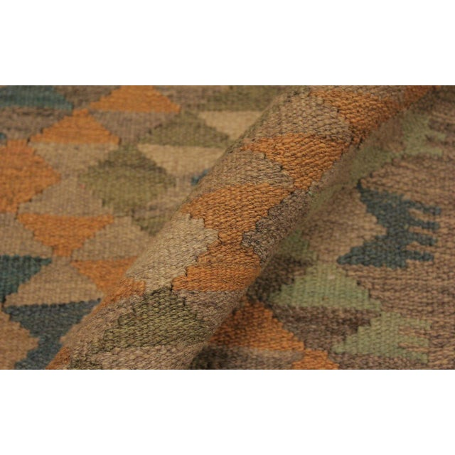 Xara Gray/Blue Hand-Woven Kilim Wool Rug -5'0 X 6'9 For Sale - Image 4 of 8