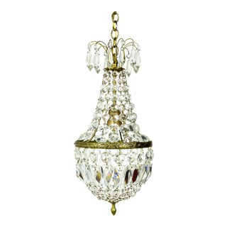 Petite Regency Style Crystal Tent and Bag Chandelier For Sale