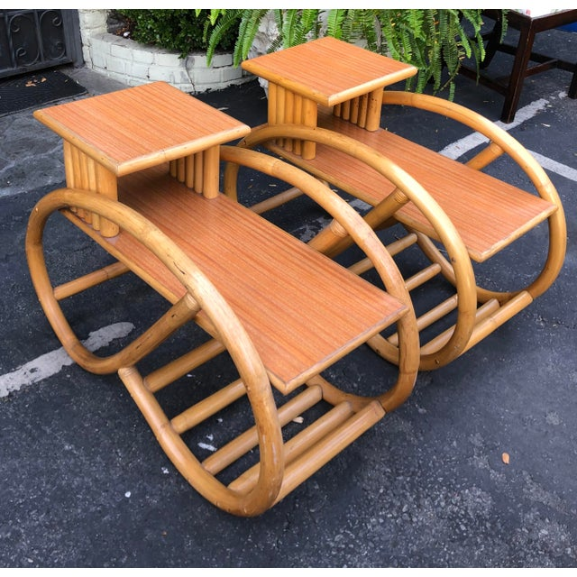 Fabulous 1950's Bent Rattan Side Table Nightstands - a Pair