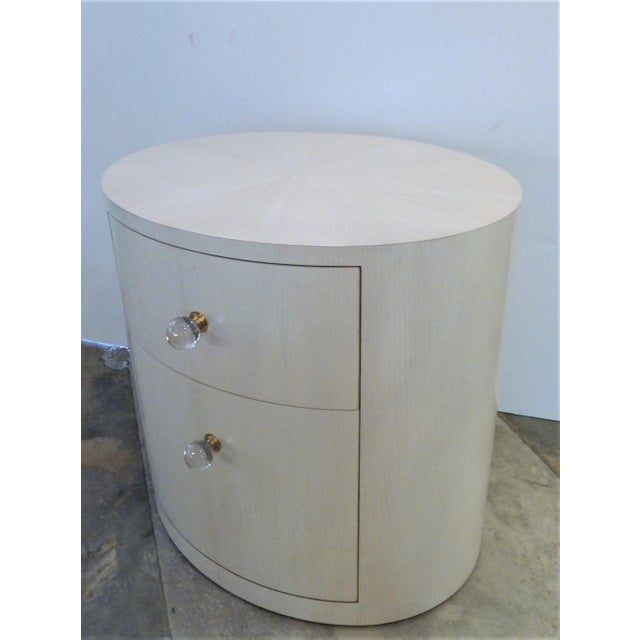 Not Yet Made - Made To Order Italian-Inspired 1970S Style Oval Nightstand For Sale - Image 5 of 8