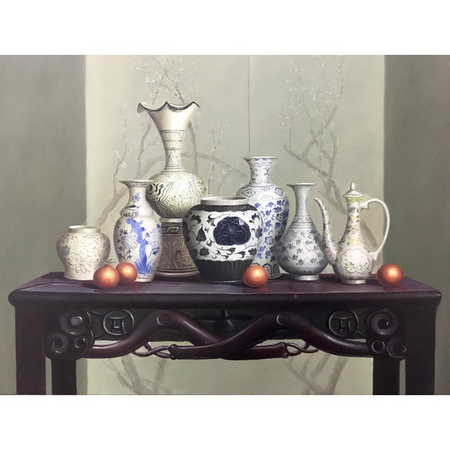 A lovely painting of a group of six Oriental/Asian vases on a traditional blackwood altar table/console. Blues, greys,...