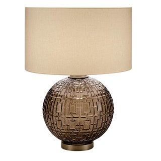 Mocca Glass With Golden Bronze Table Lamp and Shade For Sale