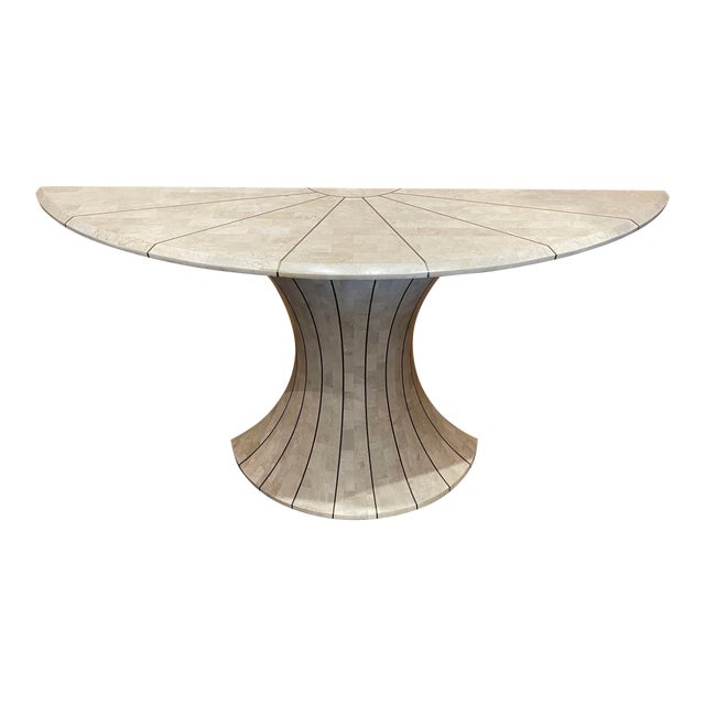 Maitland Smith Tessellated Travertine Demilune Table With Brass Inlay For Sale