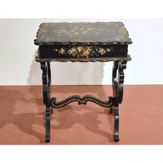 French 19th Century French Hand-Painted and Gilt Three-Piece Set, Chairs and Matching Table, With Mother-Of-Pearl For Sale - Image 3 of 10