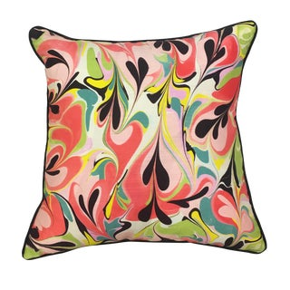 """Abstract Porcellino Multicolor Heart Cotton and Linen Pillow Cover - 22"""""""