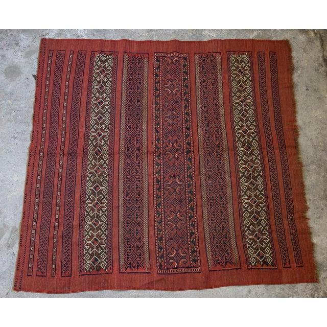 "Vintage Turkish Aztec Print Rug - 5'1"" x 5'3"" - Image 2 of 8"
