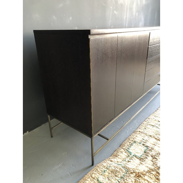 Metal Mid Century Paul McCobb for Calvin Irwin Collection Dark Brown Finish and Brass Buffet For Sale - Image 7 of 13