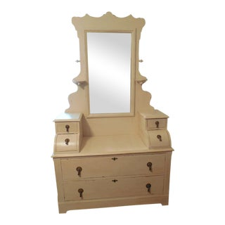 Chalk Painted and Waxed Handmade Pine Victorian Dresser With Mirror