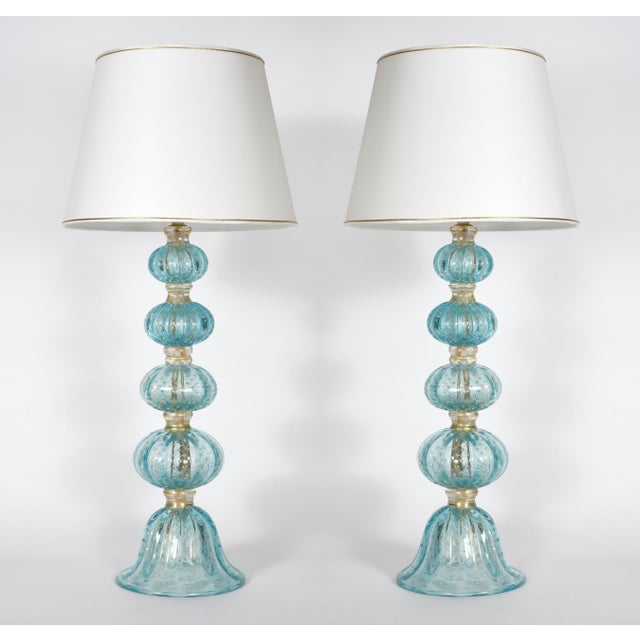 Turquoise With Gold Flecks Table / Task Lamps - a Pair For Sale - Image 9 of 9