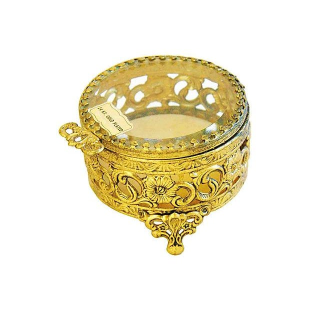 1960s Vintage 24k Gold-Plated Filigree Trinket Jewelry Keepsake Box For Sale - Image 5 of 5