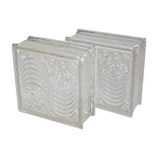 """Mid-Century Architectural Glass Blocks 7.5"""" X 7.5"""" X 3.25"""" - Pair For Sale"""