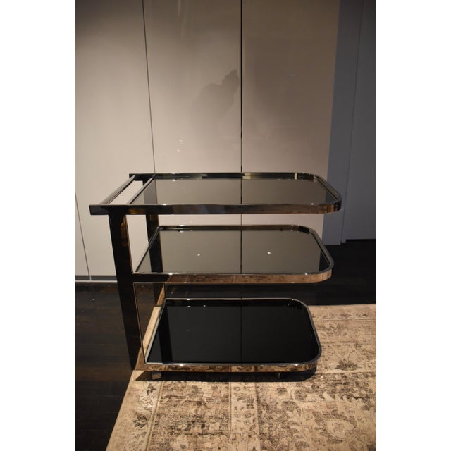 1970s Vintage Glass & Chrome Bar Cart For Sale In New York - Image 6 of 6