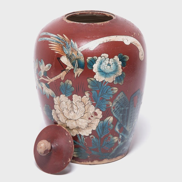 Chinese Painted Oxblood Jars With Phoenix & Peonies - a Pair For Sale In Chicago - Image 6 of 13