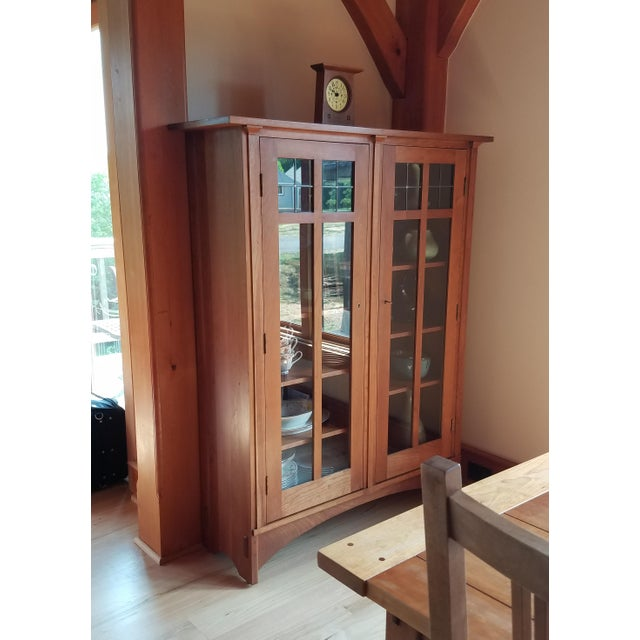 Arts & Crafts Stickley Cherry Leaded Glass Double Door Bookcase For Sale - Image 3 of 13