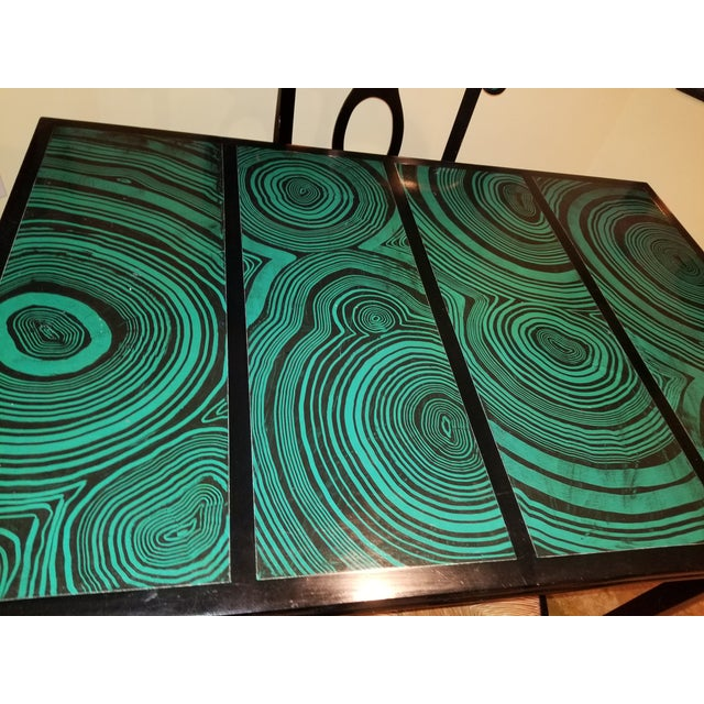 1970s Mid Century Faux Malachite Dining Set 5 Piece Set 1 Table 4 Chairs 2 Leaves All Matching! For Sale In Jacksonville, FL - Image 6 of 13