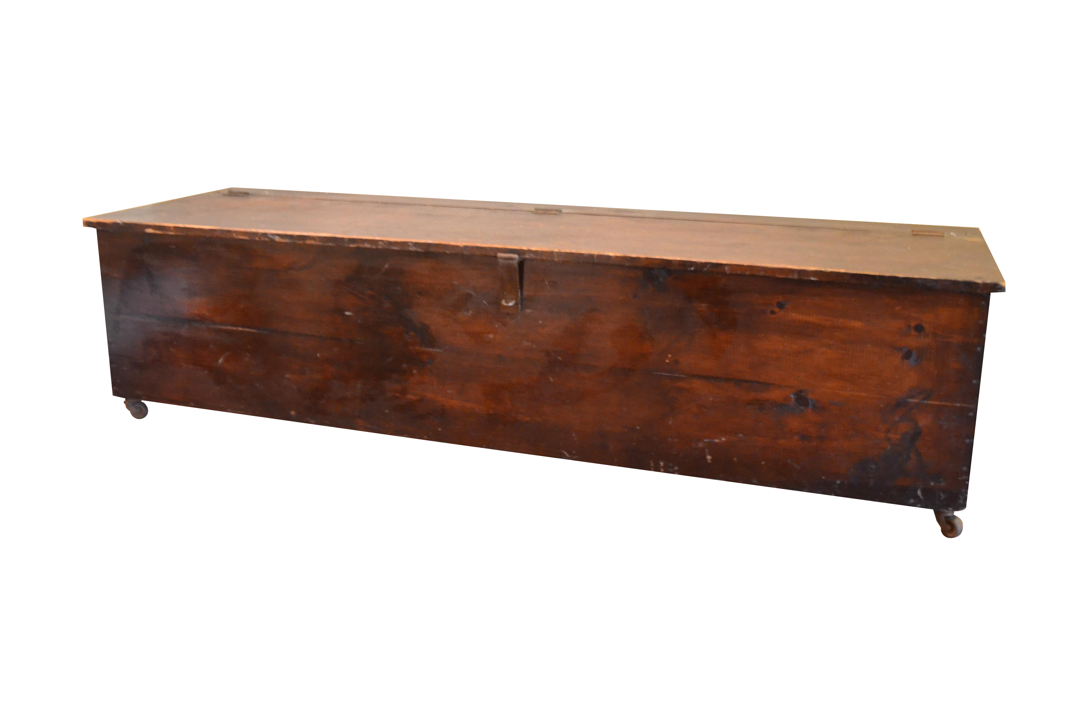 Bon Vintage Solid Wood Rolling Storage Trunk Bench