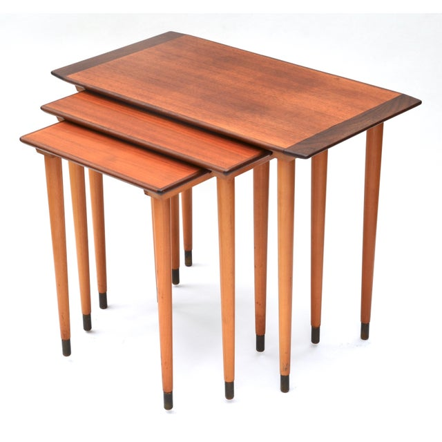 Scandinavian Teak Walnut Nesting Tables, Set of Three 1960s For Sale - Image 10 of 10